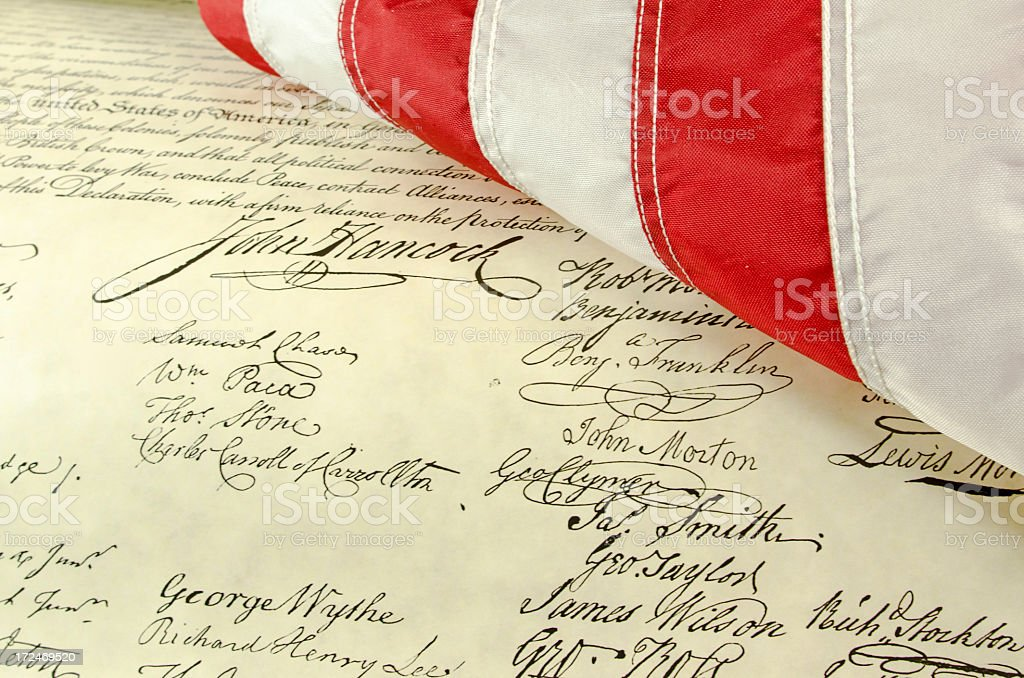 American Flag and Declaration of Independence royalty-free stock photo