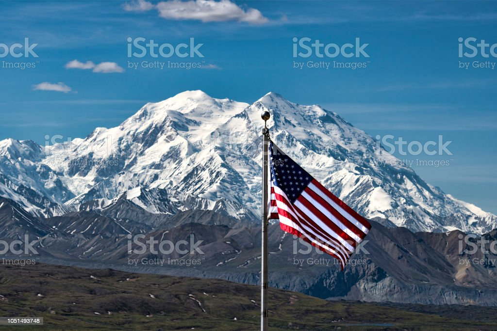 American Flag and Denali stock photo
