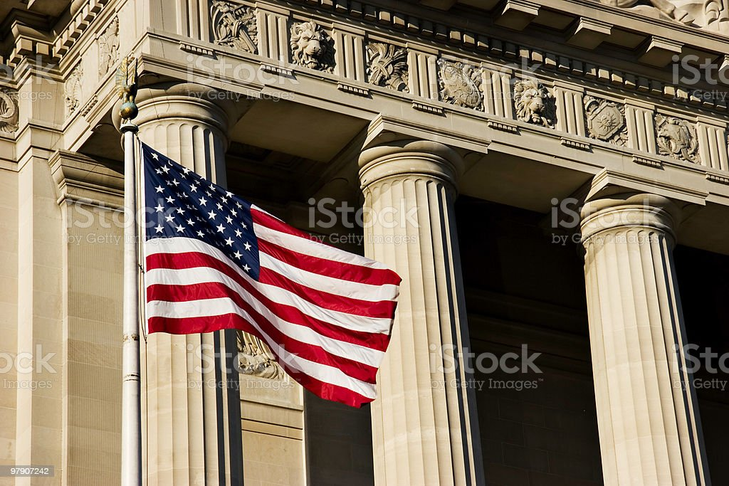 American Flag and Federal Building stock photo