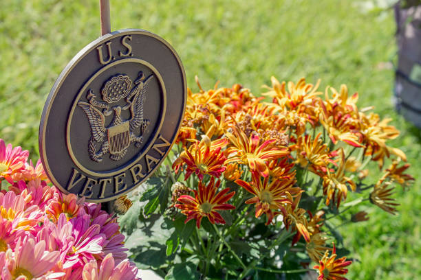 american flag and flowers for memorial day mums and flags on grave for memorial day day 4 stock pictures, royalty-free photos & images