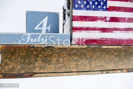 537898300istockphoto American flag and fourth of july calendar date on old book 1030419782