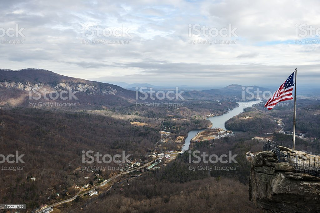 American flag and landscape at Chimney Rock stock photo