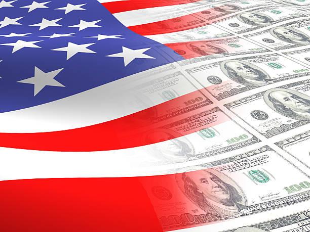 Amerikanische Flagge und Geld – Foto