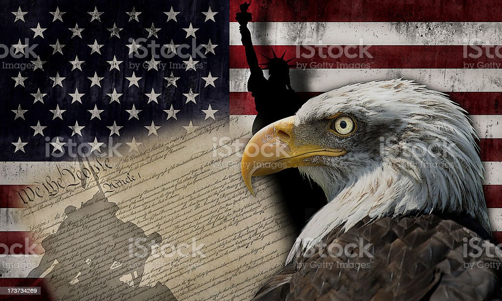 American flag and monuments stock photo
