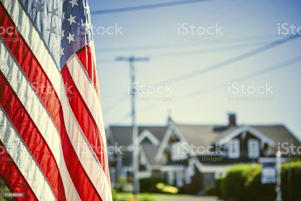 American Flag and Neighborhood stock photo