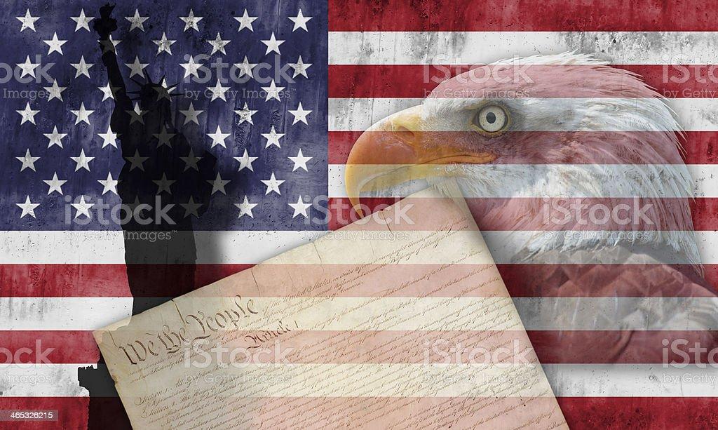 American flag and patriotic symbols stock photo