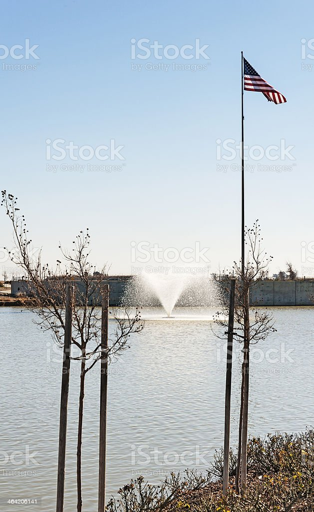 American Flag and Pond stock photo