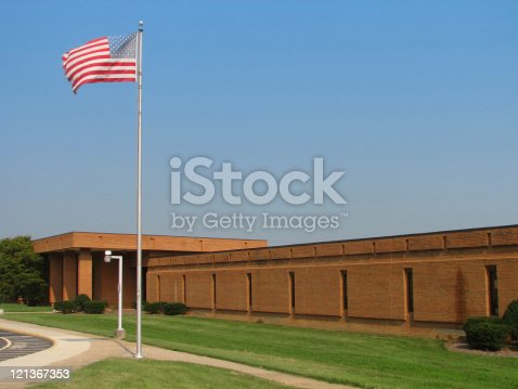 istock American Flag and School 121367353