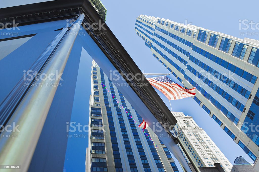 American Flag And Skyscrapers royalty-free stock photo