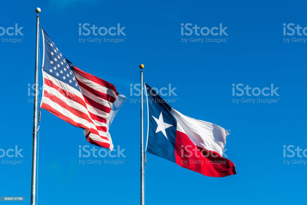 American Flag and Texas Flag stock photo