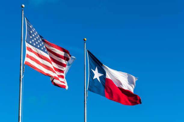 Amerikanische Flagge und Texas Flagge – Foto
