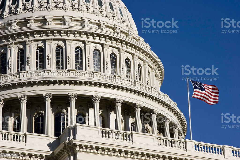 American Flag and the U.S. Capitol Dome royalty-free stock photo