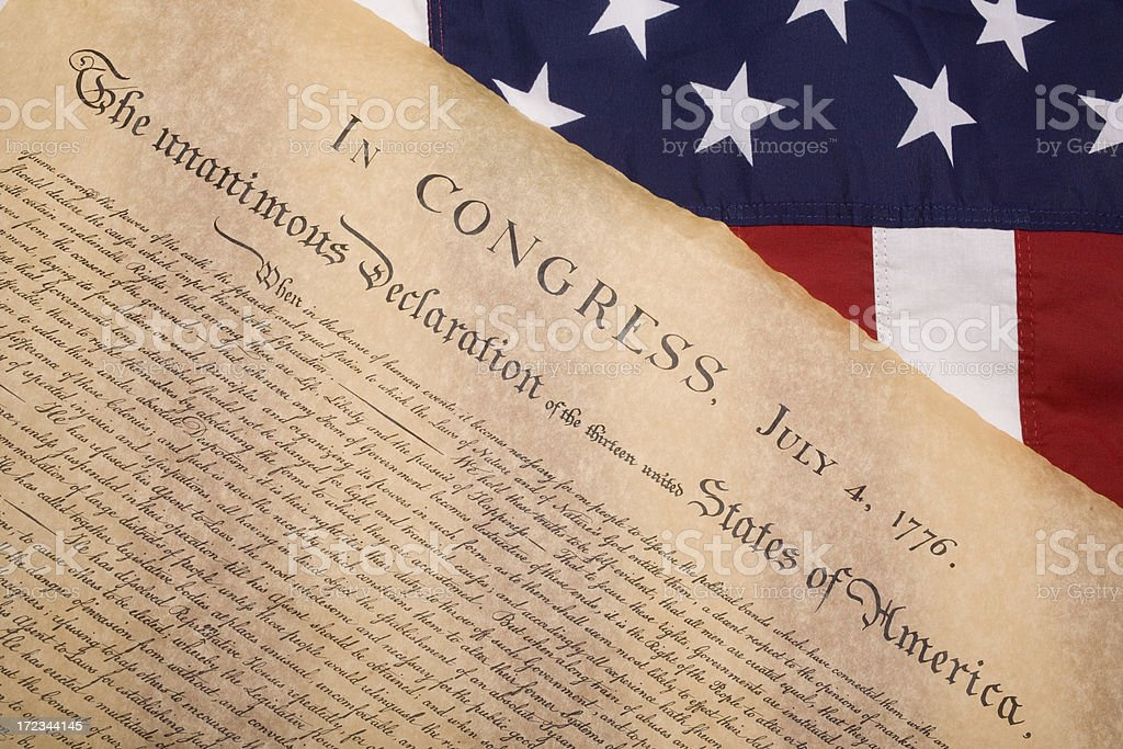 American Flag and the U.S. Constitution stock photo