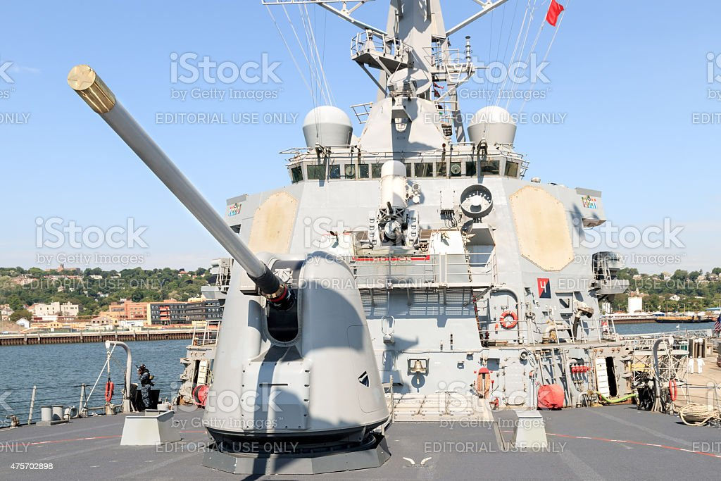 American Flag and U.S.A Navy Flags on Destroyer Ship stock photo
