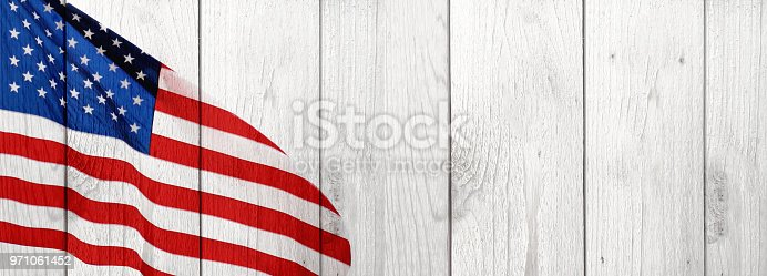 istock American Flag and Wood Celebration Background 971061452
