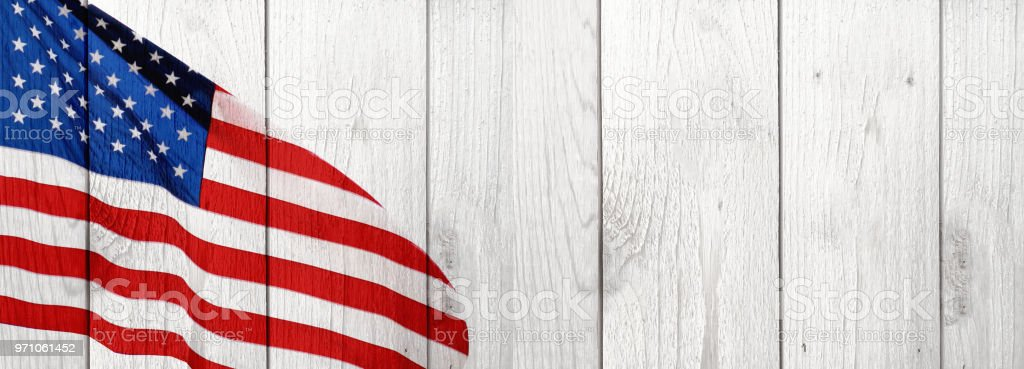 American Flag and Wood Celebration Background stock photo