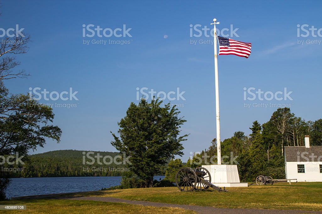 American Flag At Fort Wilkins State Historical Park In Michigan stock photo