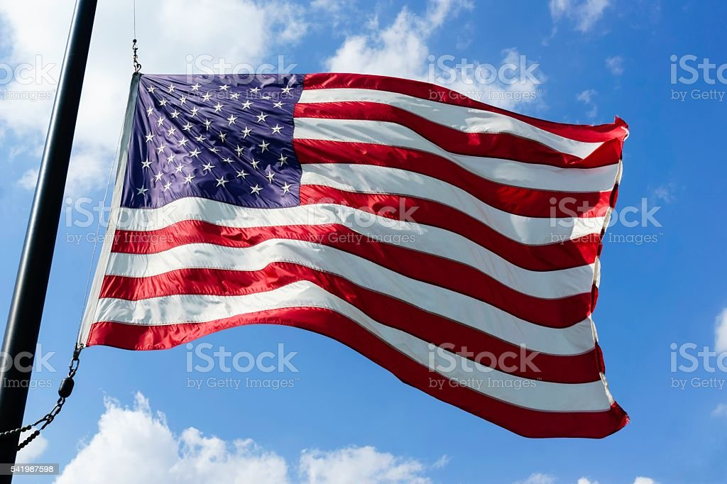 American Flag at Half Mast stock photo