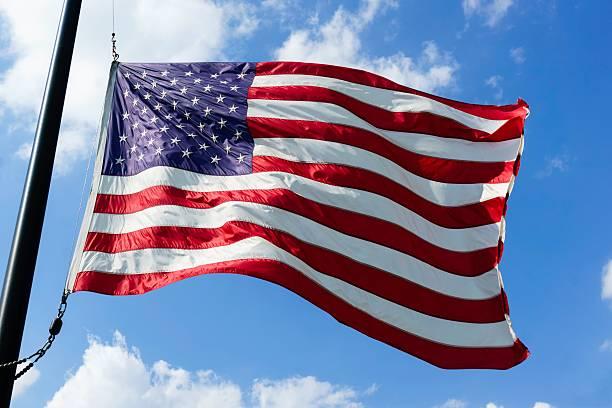 American Flag at Half Mast stock photo