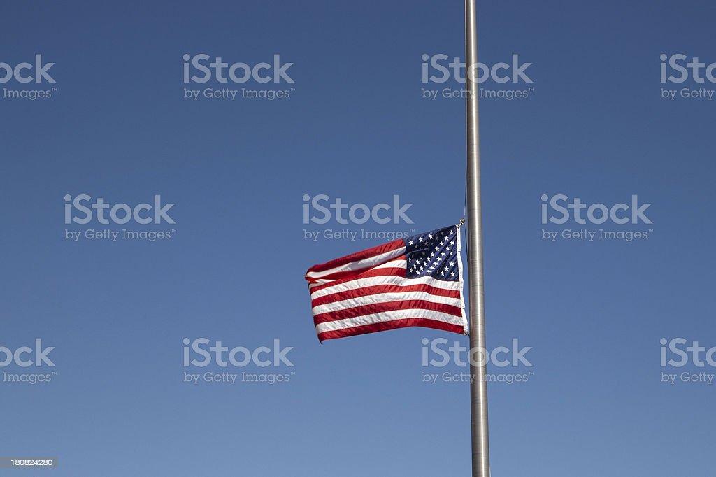 American Flag at Half Staff stock photo