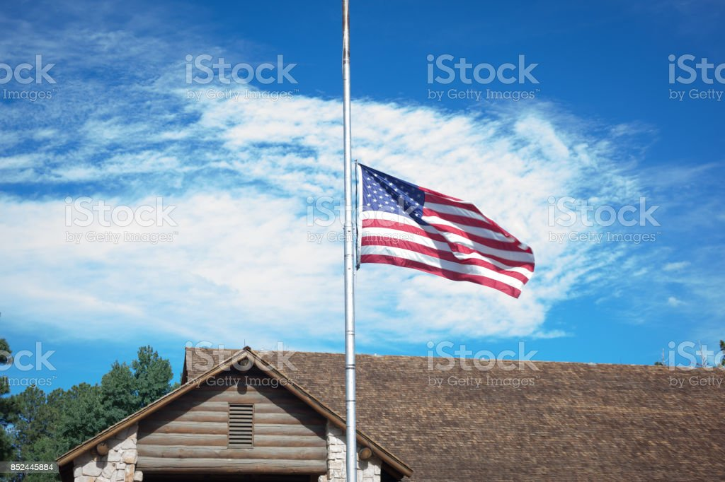American Flag at Half-staff stock photo