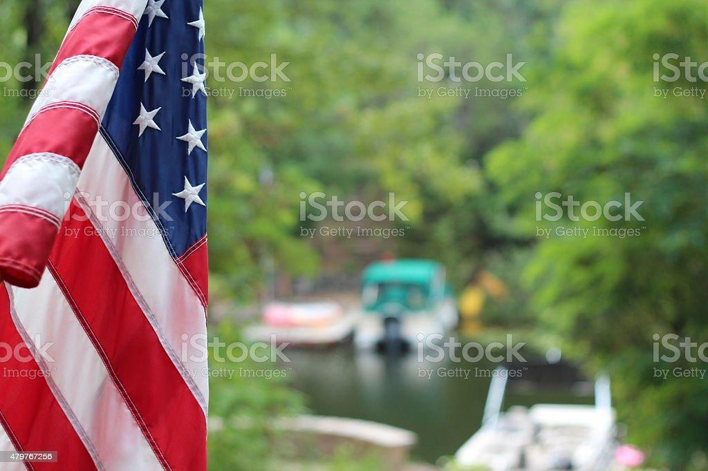 American Flag at Lake stock photo