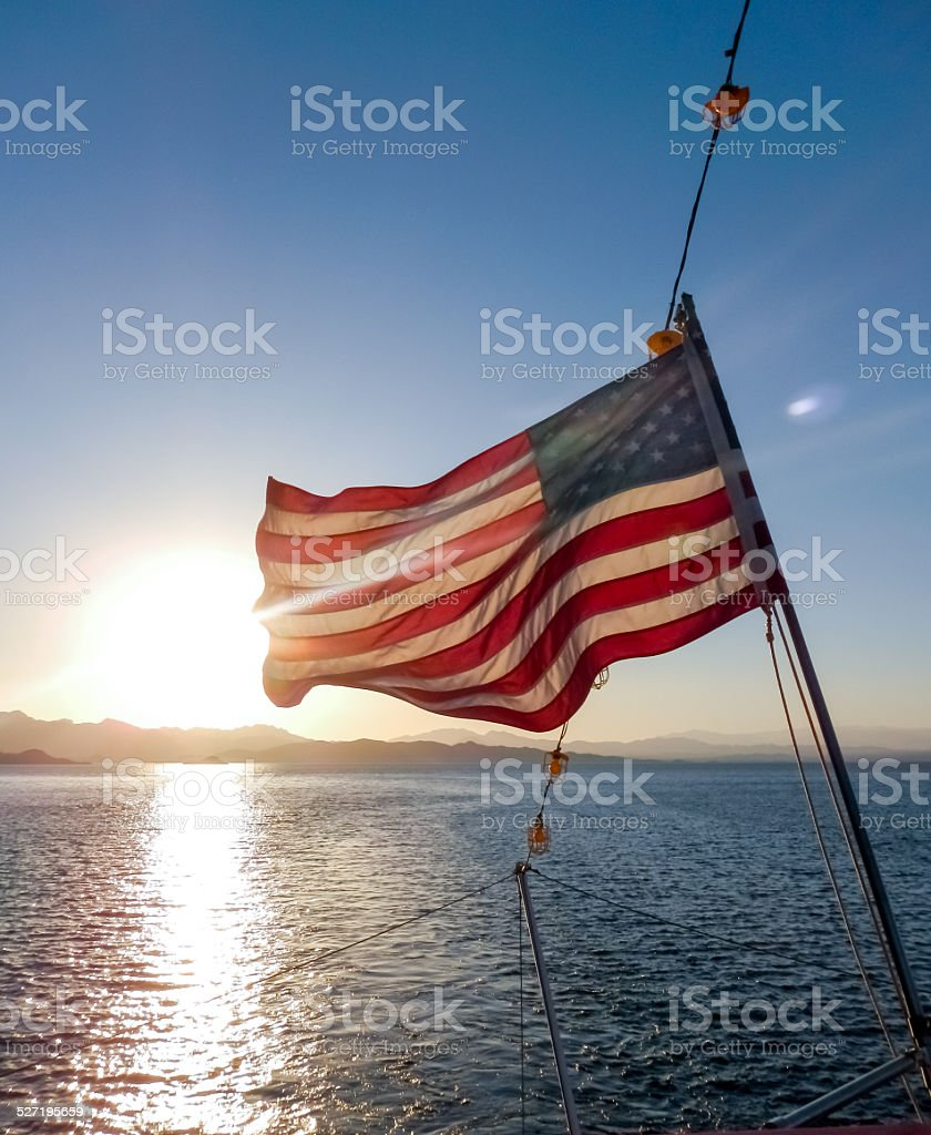 American Flag at Sunset stock photo