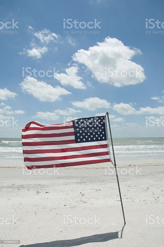 American Flag at the Beach stock photo