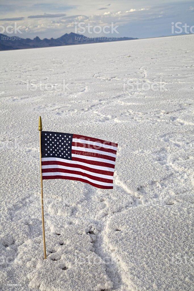 American Flag At The Bonneville Salt Flats stock photo