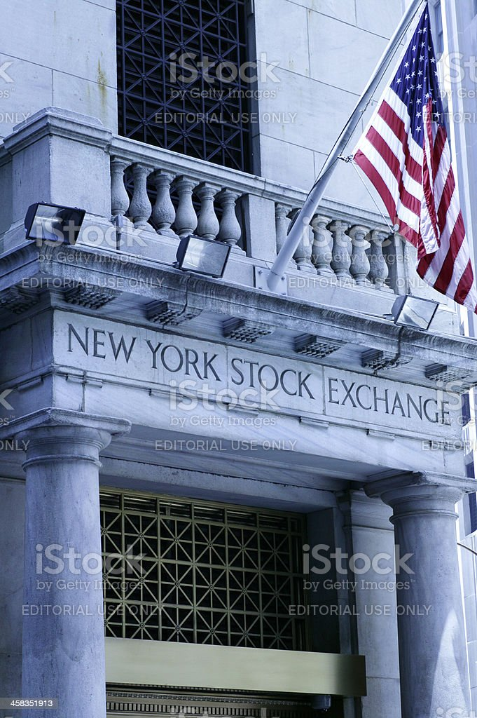 American Flag At The NYSE royalty-free stock photo