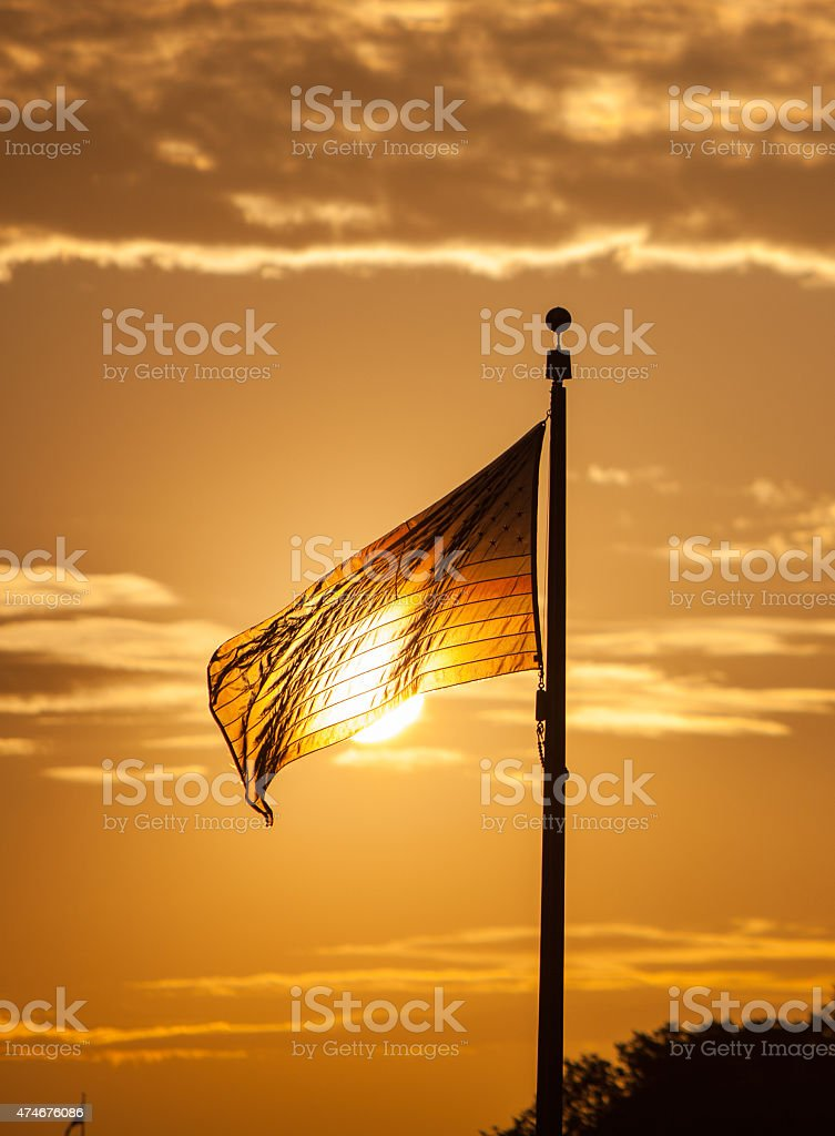 American flag at the Washington Monument stock photo