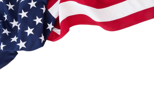 American Flag Background Isolated on White stock photo