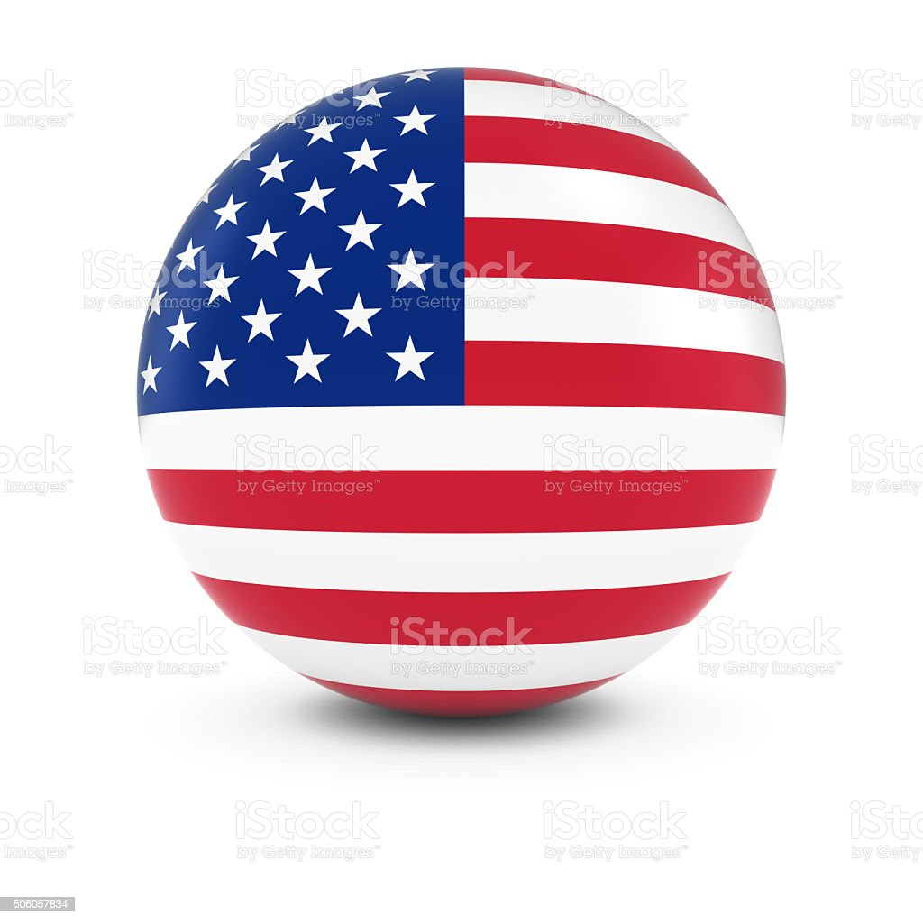 American Flag Ball - Flag of the USA on Sphere stock photo