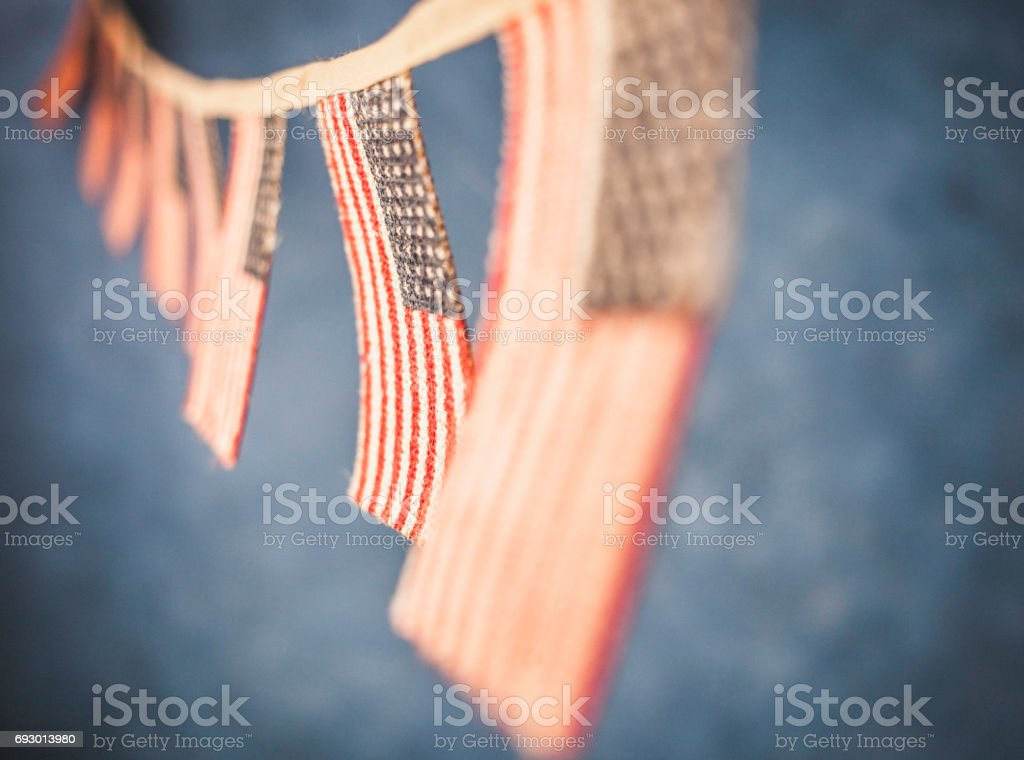 American flag banners stock photo