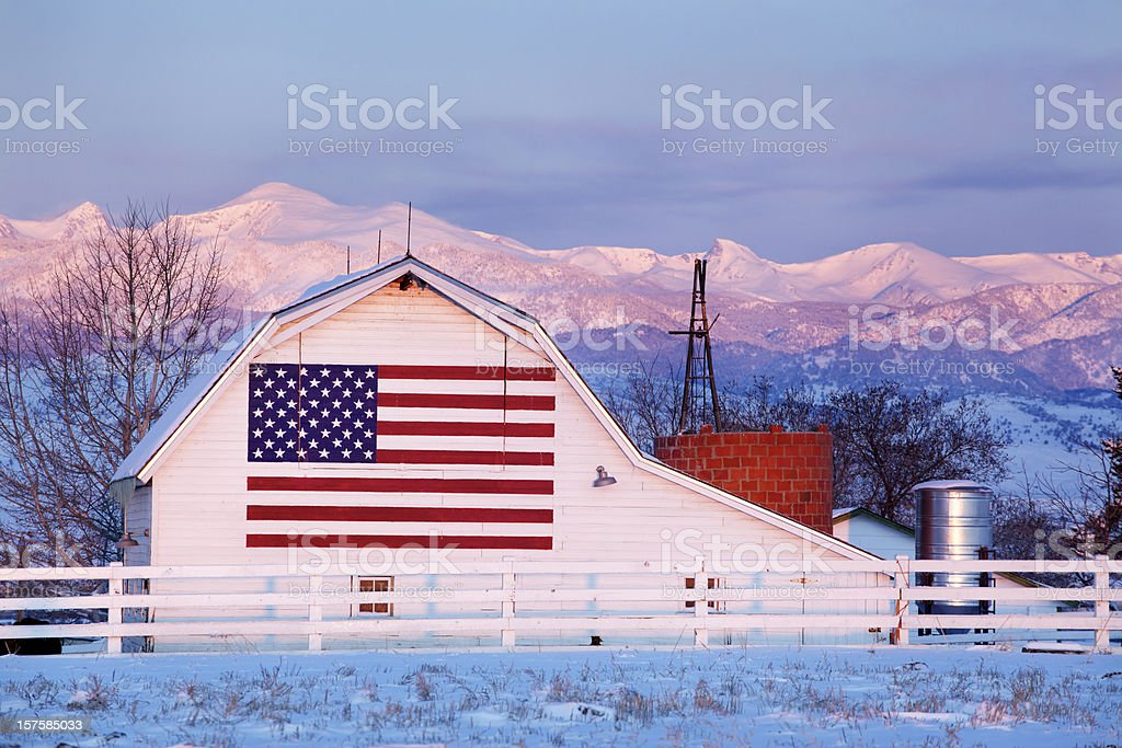 American Flag Barn stock photo