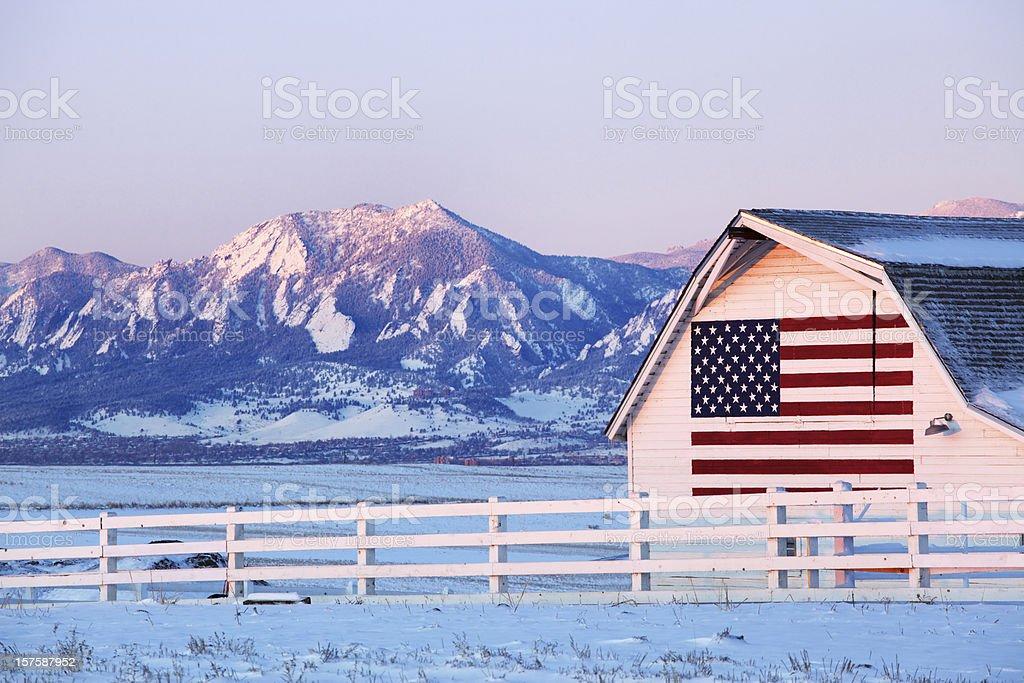 American Flag Barn stock photo