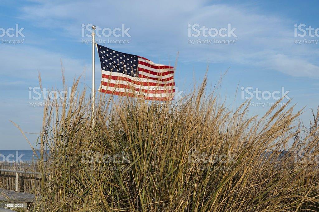 American flag Beach stock photo
