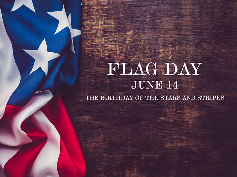 Flag Day. Beautiful greeting card. Close-up, view from above. National holiday concept. Congratulations for family, relatives, friends and colleagues