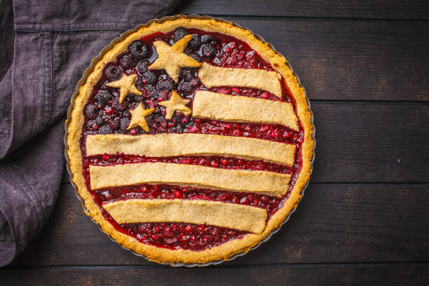 American flag berry pie, top view. Independence Day of America concept. stock photo