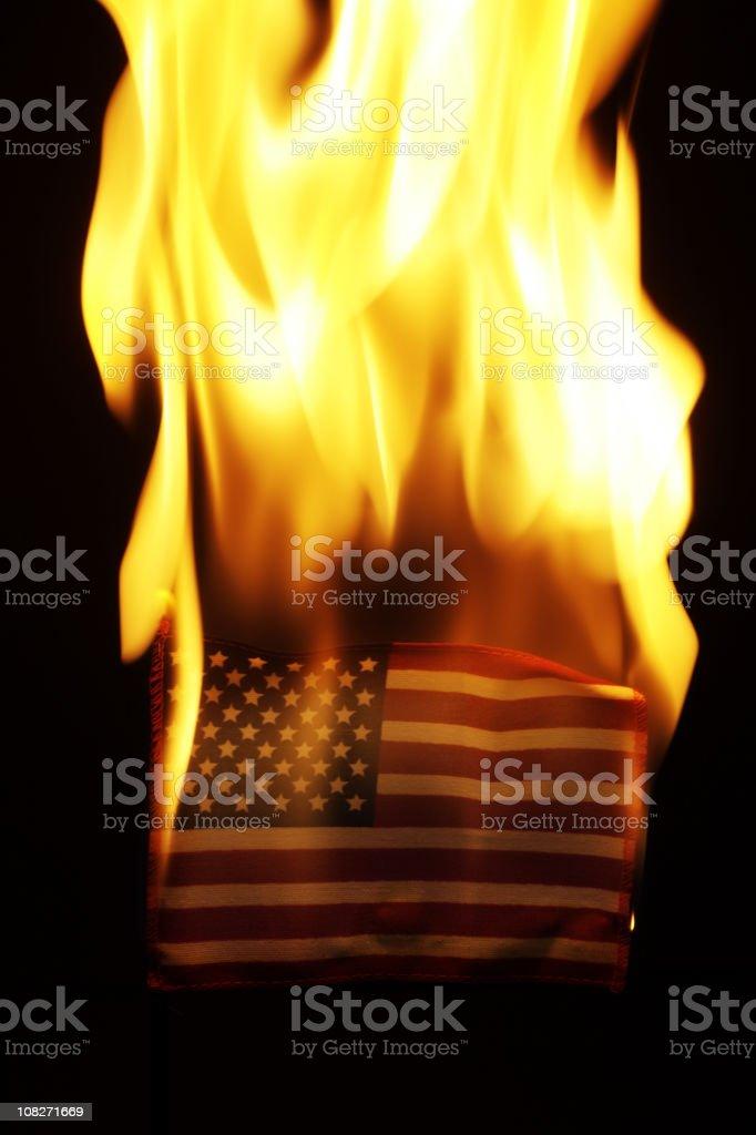 American Flag Burning stock photo