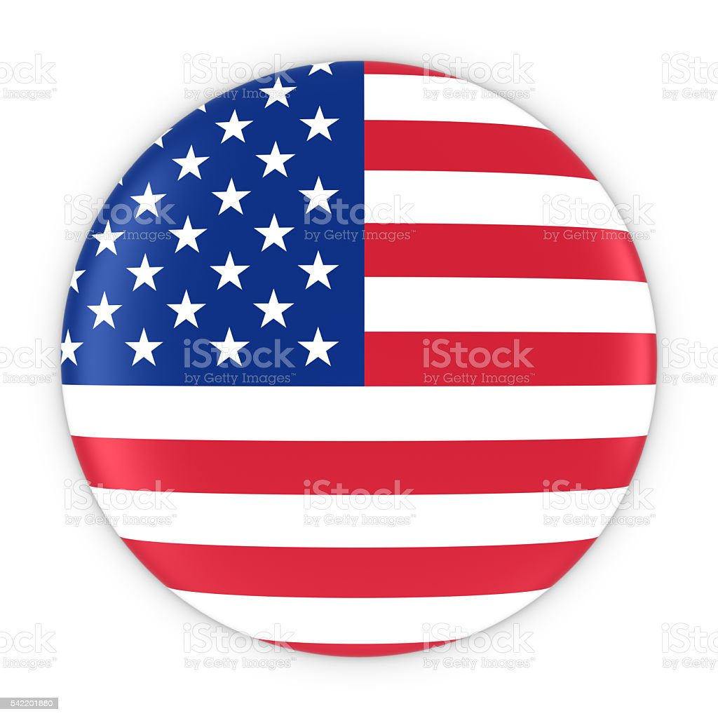 American Flag Button - Flag of America Badge 3D Illustration stock photo