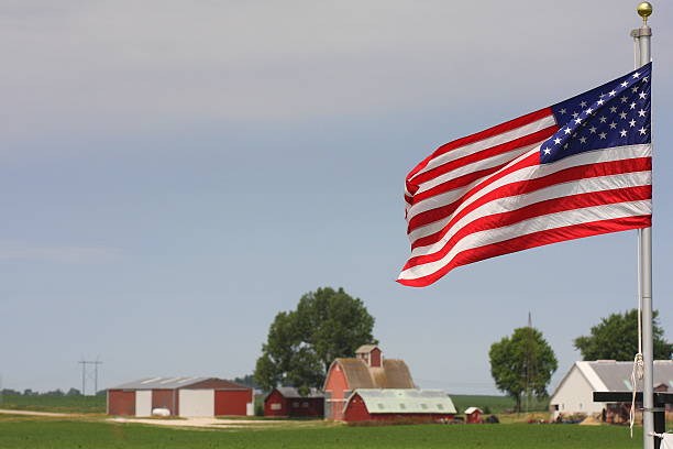 American Flag by Iowa Farmstead stock photo