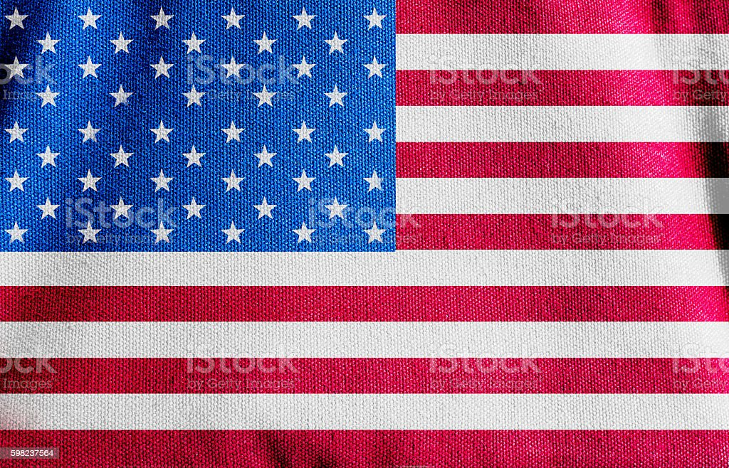 American flag canvas fabric texture background stock photo