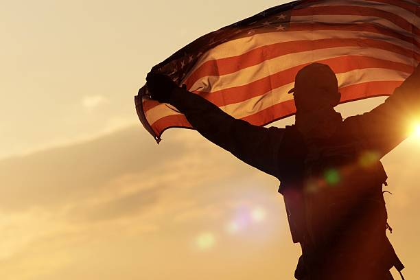 american flag celebration - soldier stock photos and pictures
