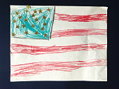 American Flag Child Drawing