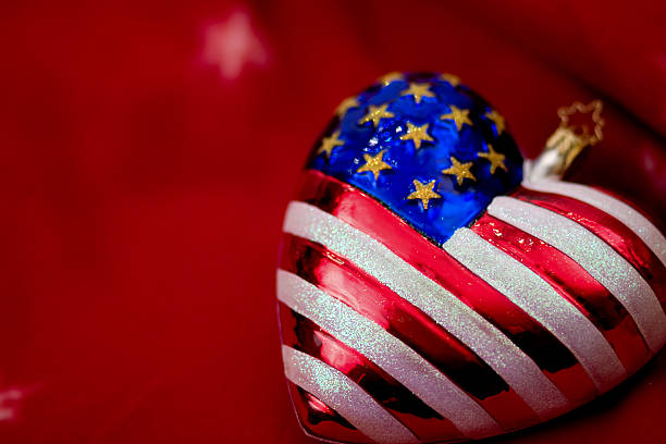 Patriotic Christmas Background.Best Patriotic Christmas Ornaments And Usa Flag Stock Photos