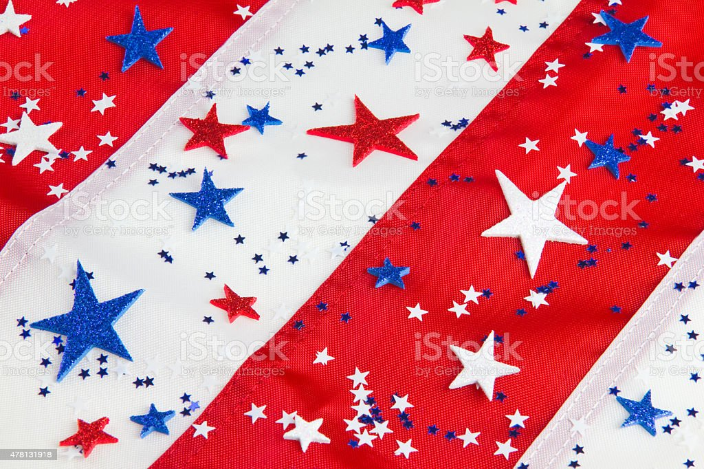 American flag close up with star confetti (P) stock photo