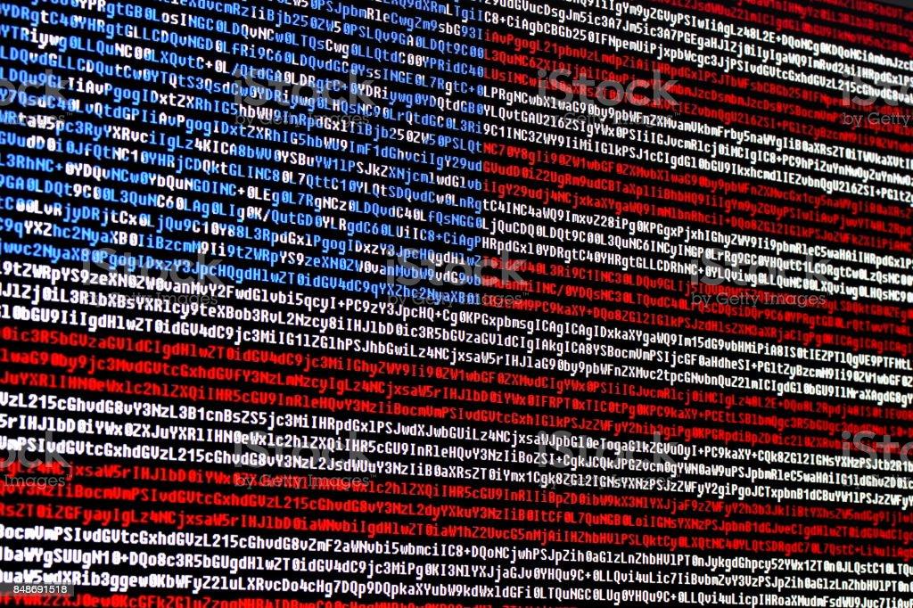 Bandeira americana, consistindo de símbolos de código de computador - foto de acervo