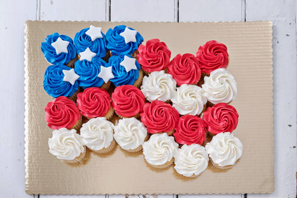 American Flag Cupcakes stock photo