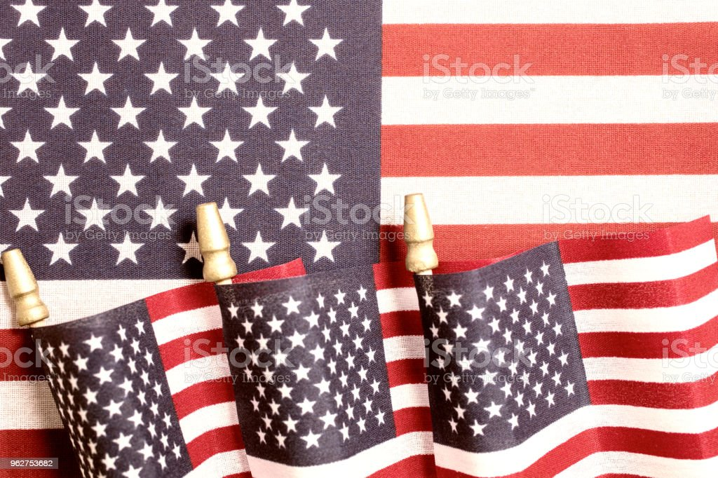 American flag decorations for the celebration of the fourth of July Independence Day - Foto stock royalty-free di 4 Luglio